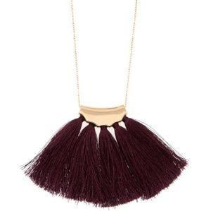 Long Burgundy or Black Tassel Pendant Necklace